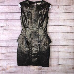 Arden B. Gold Metallic Open Back Dress SzXS